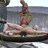 Blonde with big tits gets execution on snow from couple of cruel soldiers