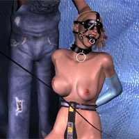 Seductive perfect blonde 3d girl in short dress and white stay ups gets finger fucked by robot.