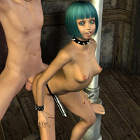 Swarthy t-girl with big boobs in gold bikini takes it off to show off her delights in 3d porn toon